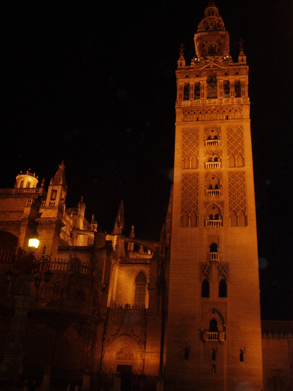 The Seville Cathedral Bell Tower (The Giralda) at night
