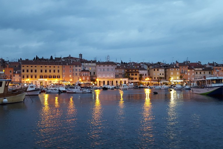 Rovinj harbor at night