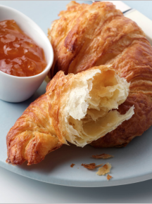 Tim Hill describes this photo as: 'A continental breakfast of a flaky pastry croissant broken open and some orange confiture. A perfect way to start the day.'