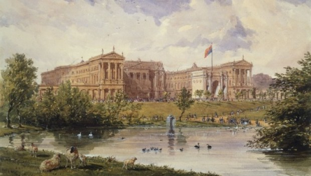Joseph Nash, The east front of Buckingham Palace from St James's Park, 1846_0.jpg
