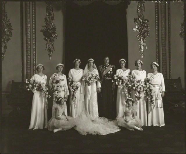 NPG x95788; The wedding of Prince George, Duke of Kent and Princess Marina, Duchess of Kent by Bassano