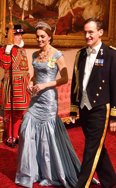 Ice Blue Taffeta Alexander McQueen Gown