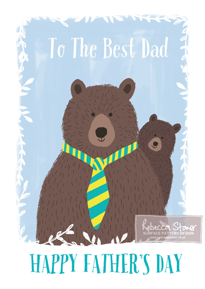 Best Dad Bears Father's Day Card by Rebecca Stoner www.rebeccastoner.co.uk