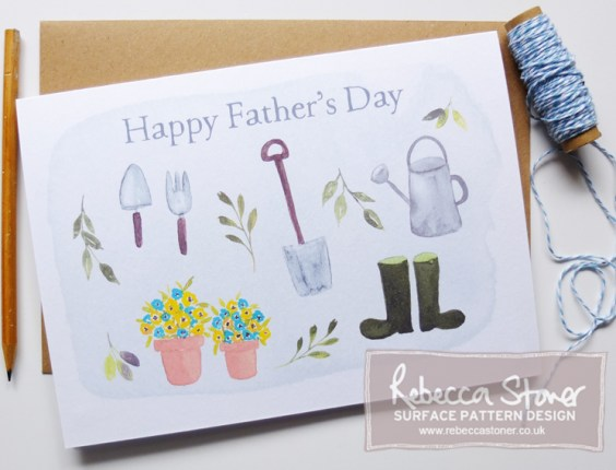 Gardening Father's Day Card by Rebecca Stoner www.rebeccastoner.co.uk