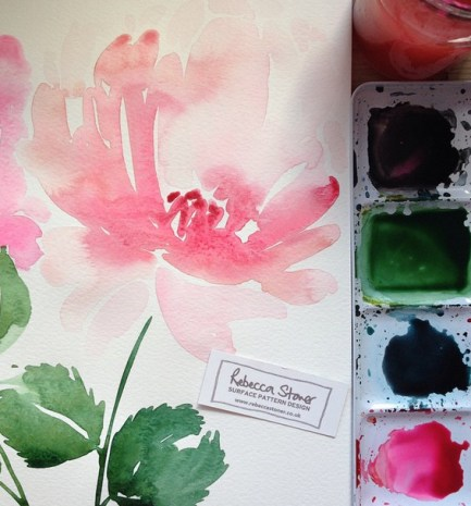 Watercolour Peony by Rebecca Stoner www.rebeccastoner.co.uk