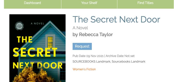 The Secret Next Door NetGalley Listing
