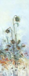 """Sunflower Reverie, ""16""x40"" oil on canvas"