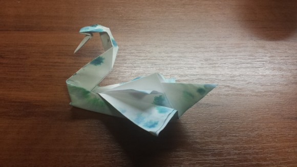 Origami Swan with Ink Pattern