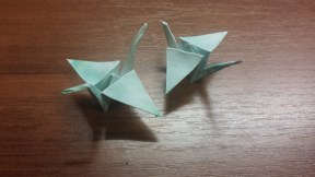 Origami Crane with ink Pattern