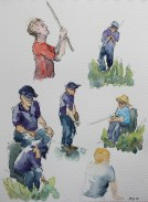 Fishing people watercolour