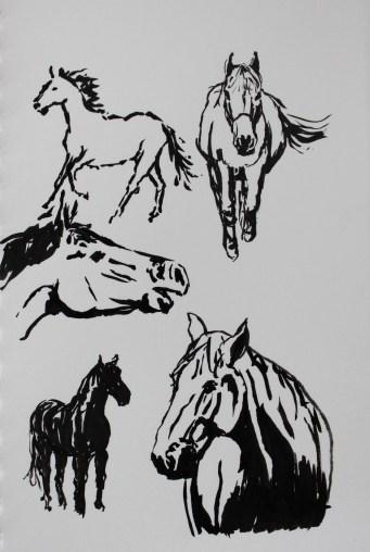 Horses inkbrush2