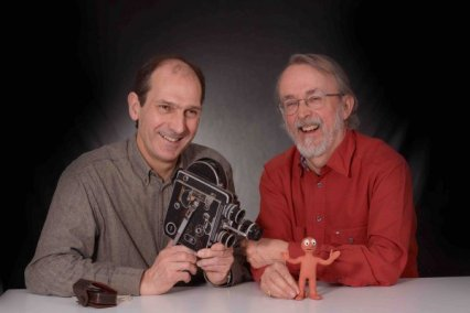 From left to right: David Sproxton and Peter Lord (the founders of Aardman) with Morph