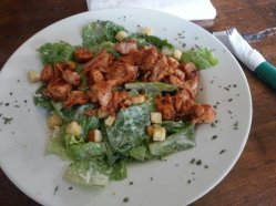 The Blackened Chicken Caesar Salad is a flavorful and light option.