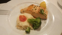Salmon, mashed potatoes and broccoli