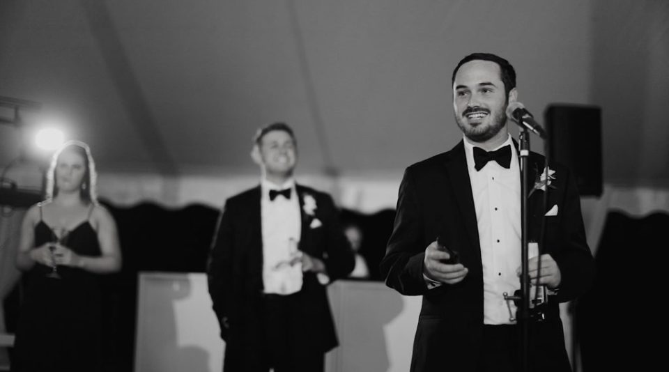 wedding video film of best man during toasts