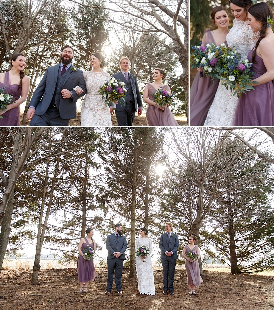 winter wedding party photography