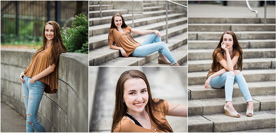 senior photo poses on steps