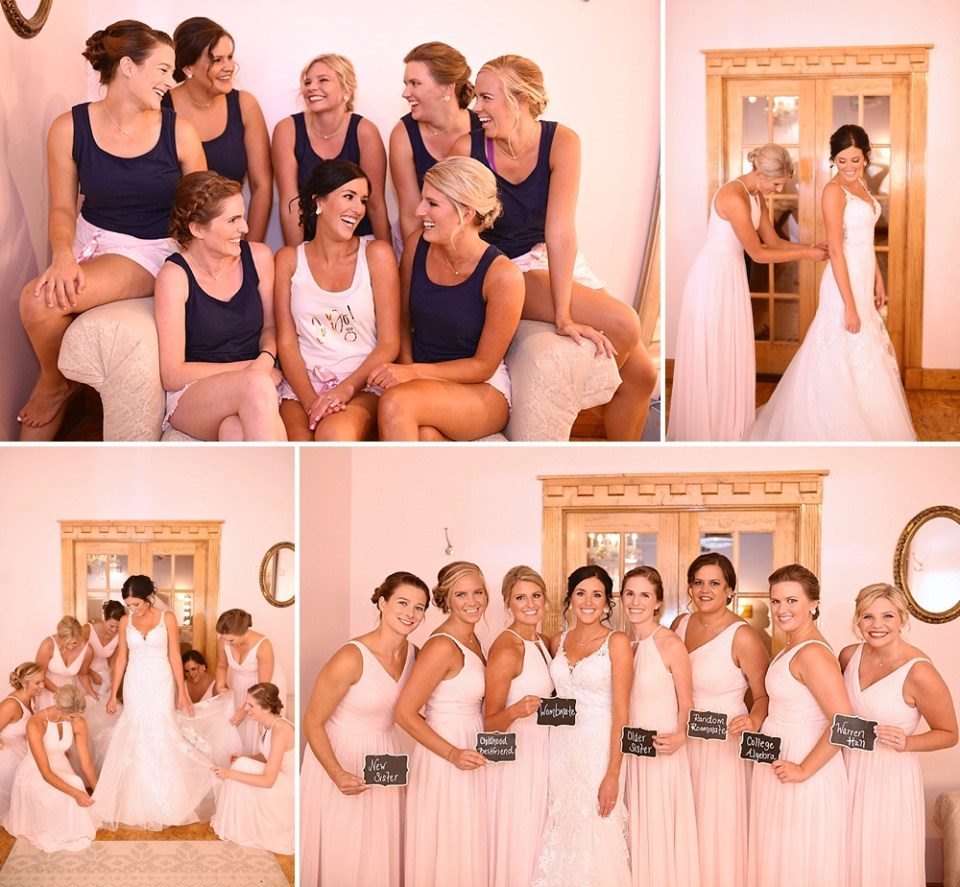 bride chilling with bridesmaids