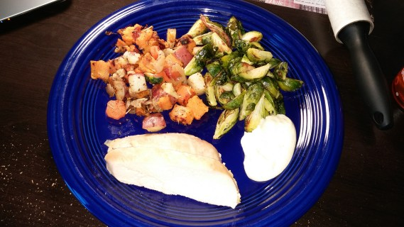 roasted chicken, roasted root vegetables, roasted brussels sprouts, whole 30 challenge, paleo