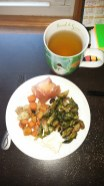whole 30, prosciutto, hard-boiled egg, roasted brussels sprouts, roasted root vegetables, tea