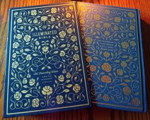 ESV Illuminated Bible, front of slipcase, back of Bible, cloth over board