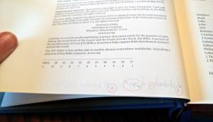 ESV Illuminated Bible pen test, fountain pen, ballpoint pen, ink ghosting, ink bleeding