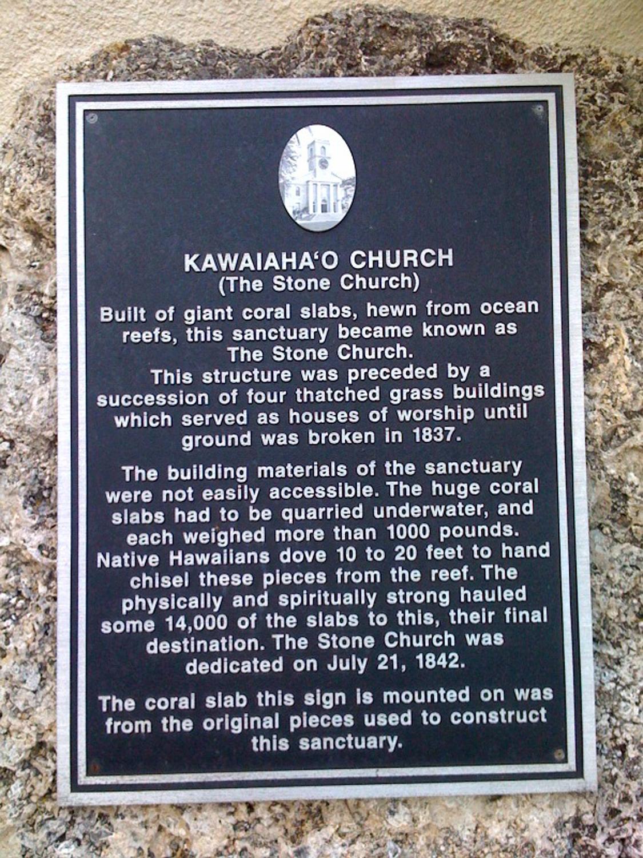 Kawaiahao plaque
