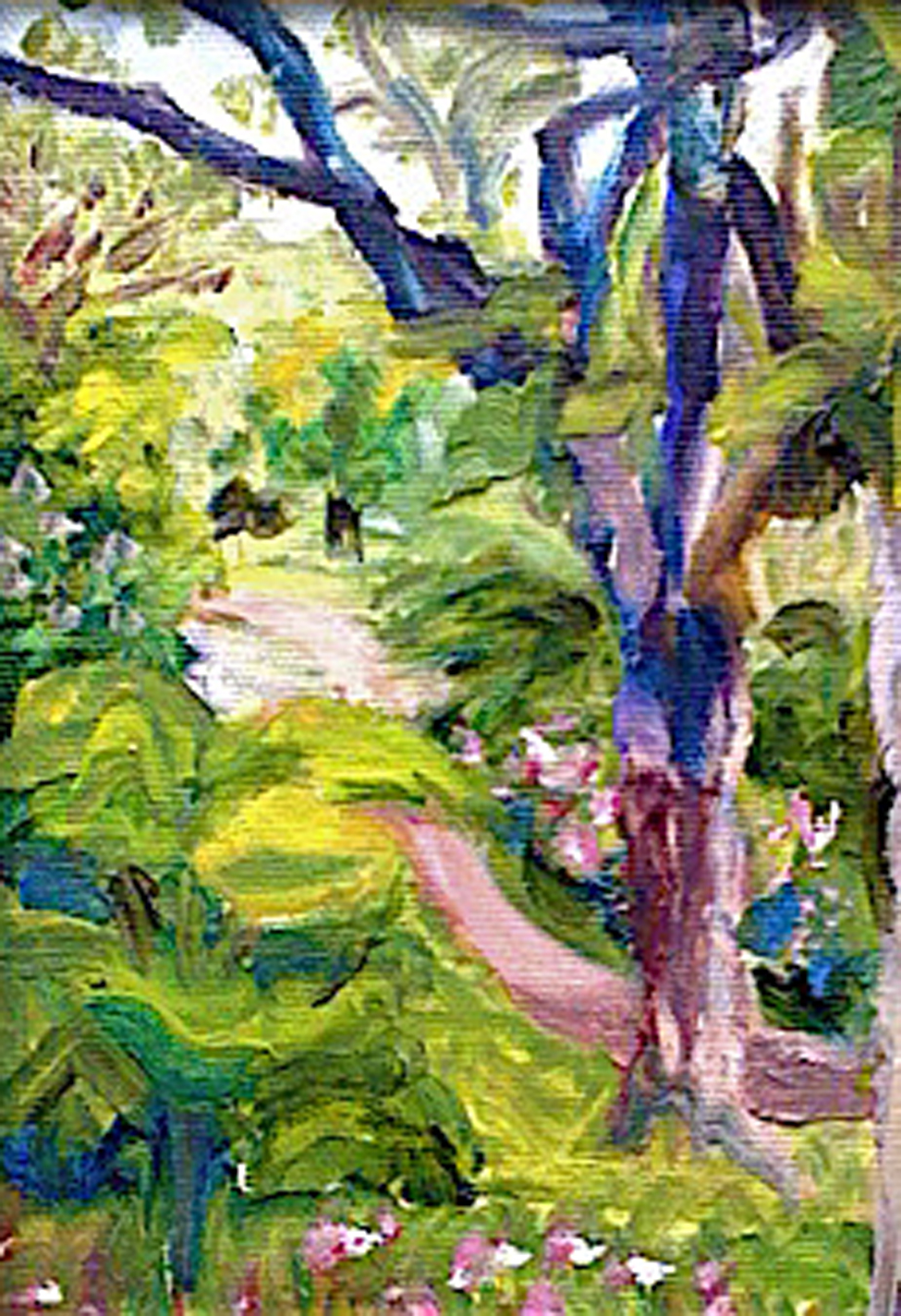 """Looking Down Upon the Path - 5""""x7"""" oil on canvas"""