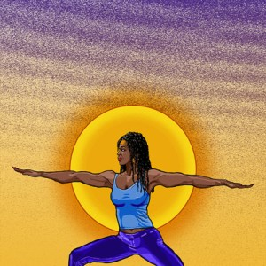digital, illustration, figure, figurative, painting, photoshop, vector, illustrator, warrior, pose, yoga, action, exercise, focus, power, strength, black, woman, sistuh, girl, sistah, gurl, braids, desert, purple, yellow, art, artwork, rebekah, younger, ryounger