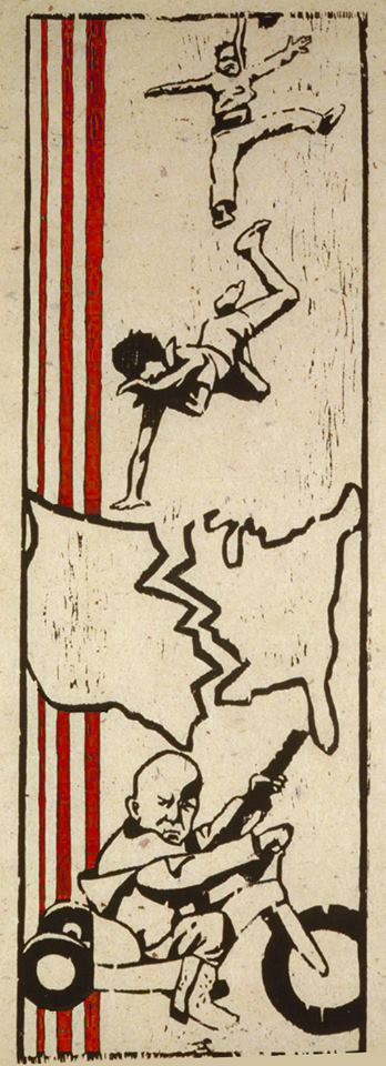 Violence in America - woodcut by Rebekah Younger - 1983