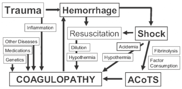 Figure 1. The Acute Coagulopathy of Trauma-Shock (ACoTS) is an early phenomenon, occurring in about 25% of severely injured patients. From: Chest 2010; 137: 209-220