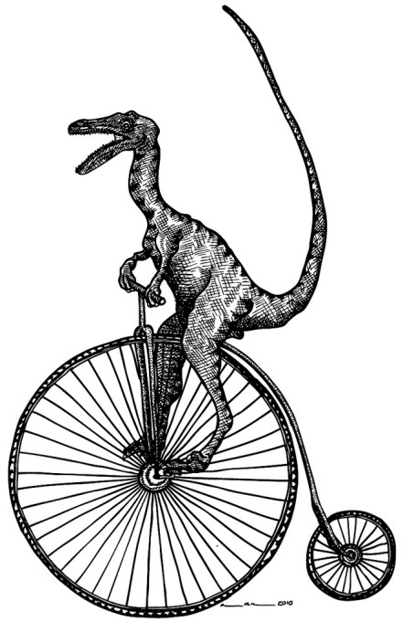 Because who can resist a dinosaur on a penny farthing? http-//ahoyhoyyy.tumblr.com/post/13113842741/would-make-for-a-quirky-tattoo