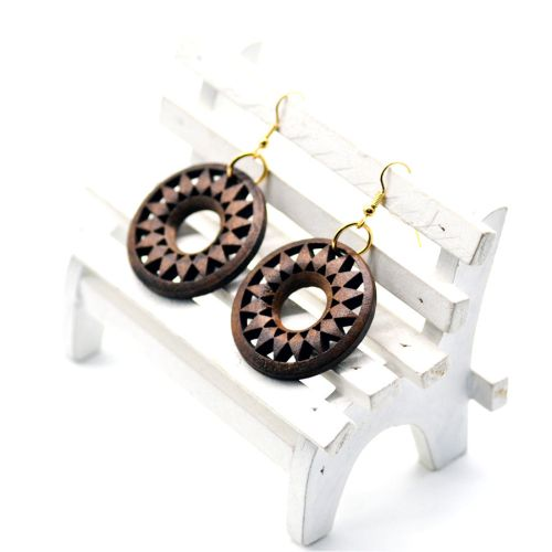 wood donut round earrings wooden jewellery jewelry rebeljewel rebel jewel