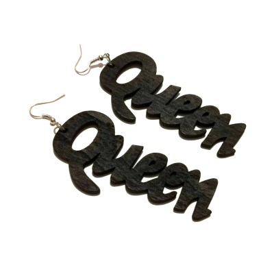 rebeljewel rebel jewel black queen wooden earrings jewelry
