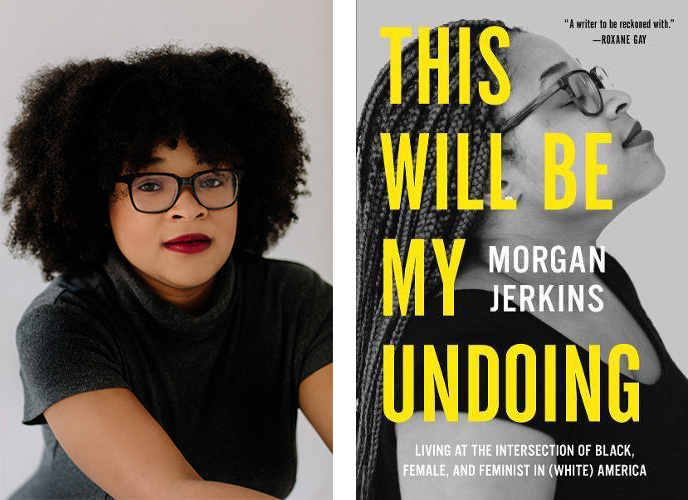 Women & Children First's Bestsellers Morgan Jerkins next to her book cover for bestseller This Will Be My Undoing