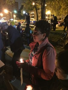 Maria Hadden attending a vigil in Rogers Park