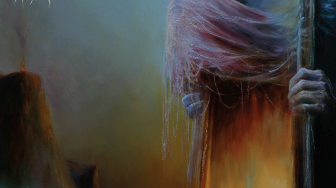 Bell Witch Album cover: witch with long hair sticking her head through a mirror