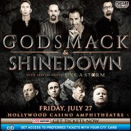 Godsmack and Shinedown at the Hollywood Casino Amphitheatre Friday, July 27, 2018