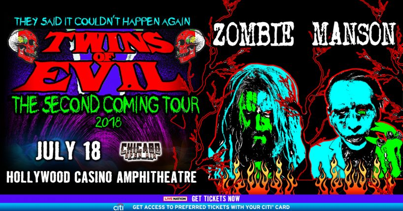 Twins of Evil, Rob Zombie and Marilyn Manson at the Hollywood Casino Amphitheatre in Tinley Park Sunday, July 15, 2018