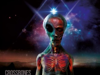 "Crossbones album cover for ""The Awakening"", featuring an alien with a colorful background"