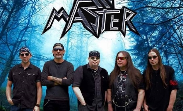 Axemaster members in black with blue, forest background
