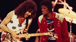 "Eddie Van Halen playing solo with Michael Jackson on ""Beat It"""