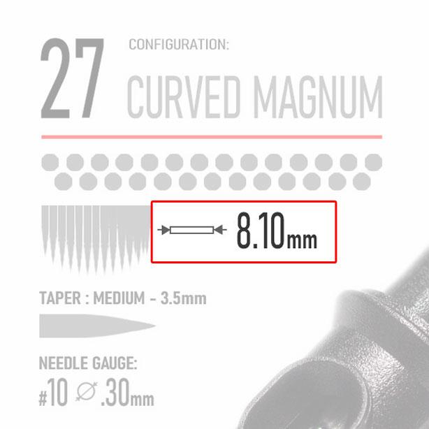 Working Width- 27 curved magnum tattoo cartridge - tattoo needle - REBEL