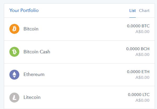 Coinbase holding list with Bitcoin, Ethereum, Litecoin and Bitcoin Cash balances
