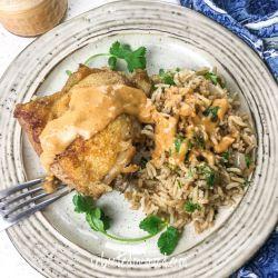 Dutch Oven Chicken & Rice with Spicy Peanut Sauce