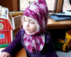 Carmen's youngest models the size large balaclava.