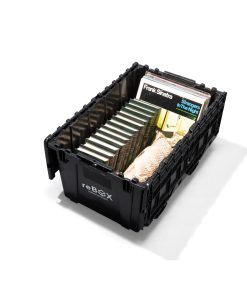 recycled plastic moving box holds heavy items like vinyl records, books, and wine without tape