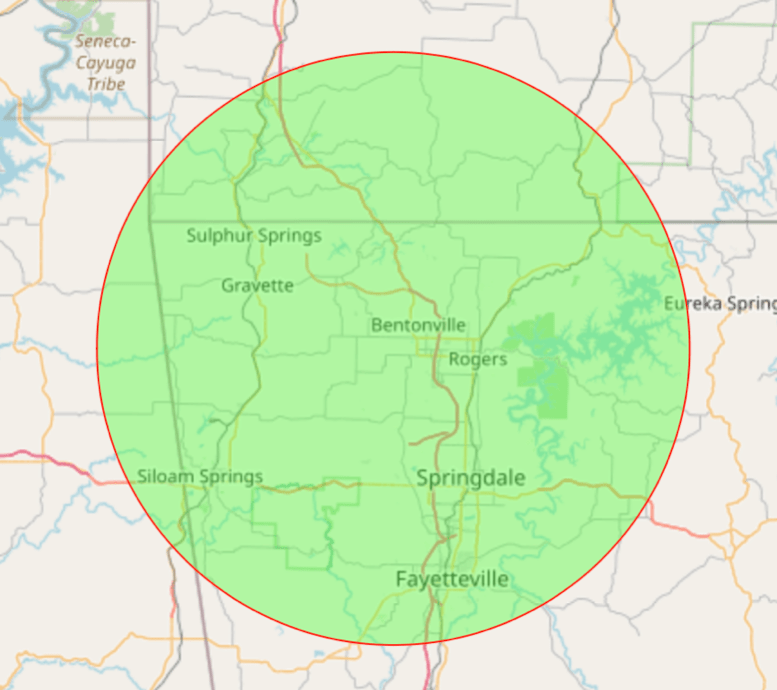 Visually shows service areas that correspond to zip codes