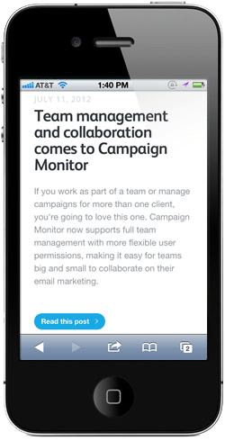Campaign Monitor's blog on the iPhone
