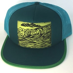 Front view of Teal Foam Front with Green Ocean Wave Print hat
